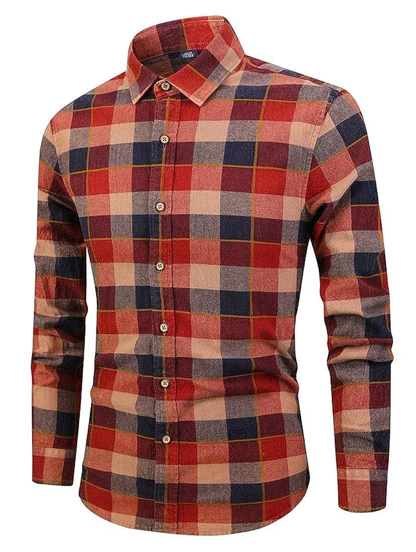ouxiuli Mens Casual Slim Classic Checkered Long Sleeve Button Down Shirt