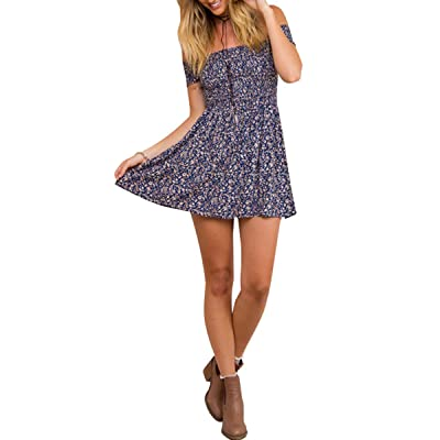 BerryGo Women's Vintage Off Shoulder High Waist Floral Print Beach Mini Dress at Women's Clothing store