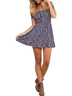 15c15b8f1b8 BerryGo Women s Vintage Off Shoulder High Waist Floral Print Beach Mini  Dress