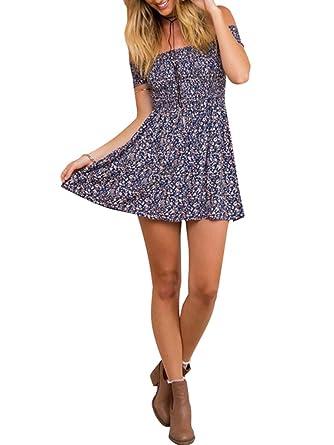 1c83022be6 BerryGo Women s Vintage Off Shoulder High Waist Floral Print Beach Mini  Dress Blue