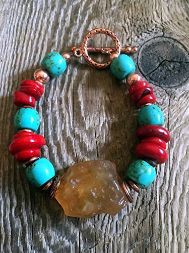 Carnelian Barrel Beads - Turquoise Bracelet - Chunky Carnelian Nugget with Red Coral Discs and Turqpoiuse Barrel Beads, Pitted Copper Toggle Clasp
