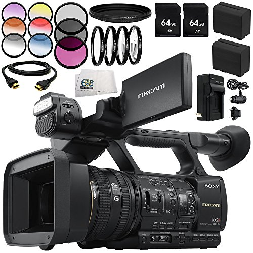 Sony HXR-NX5R PAL NXCAM Professional AVCHD Full HD WiFi Camcorder with Built-in LED Light 12PC Accessory Bundle - Includes 2X 64GB SD Memory Cards + 2 Replacement Batteries + More -  SSE