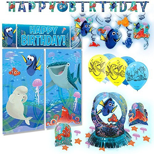 Disney Pixar Finding Dory Premium Children's Birthday Party Pack Decoration Kit (Dora Wall Decorations)