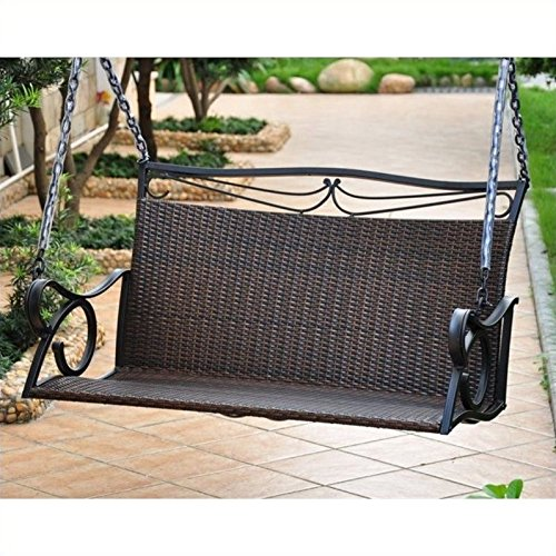 International Caravan Lisbon Loveseat Porch Swing in Antique Brown For Sale