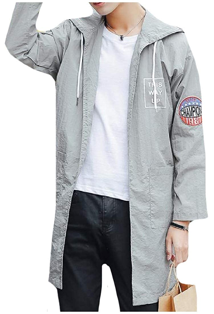 Abetteric Men Hooded Sunscreen Letter Printed Athletic Trench Coat