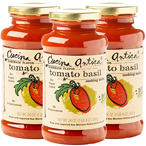 Cucina Antica - Tomato Basil Pasta Sauce - 24oz (Pack of 3) - Non GMO, Whole 30 Approved, Gluten Free