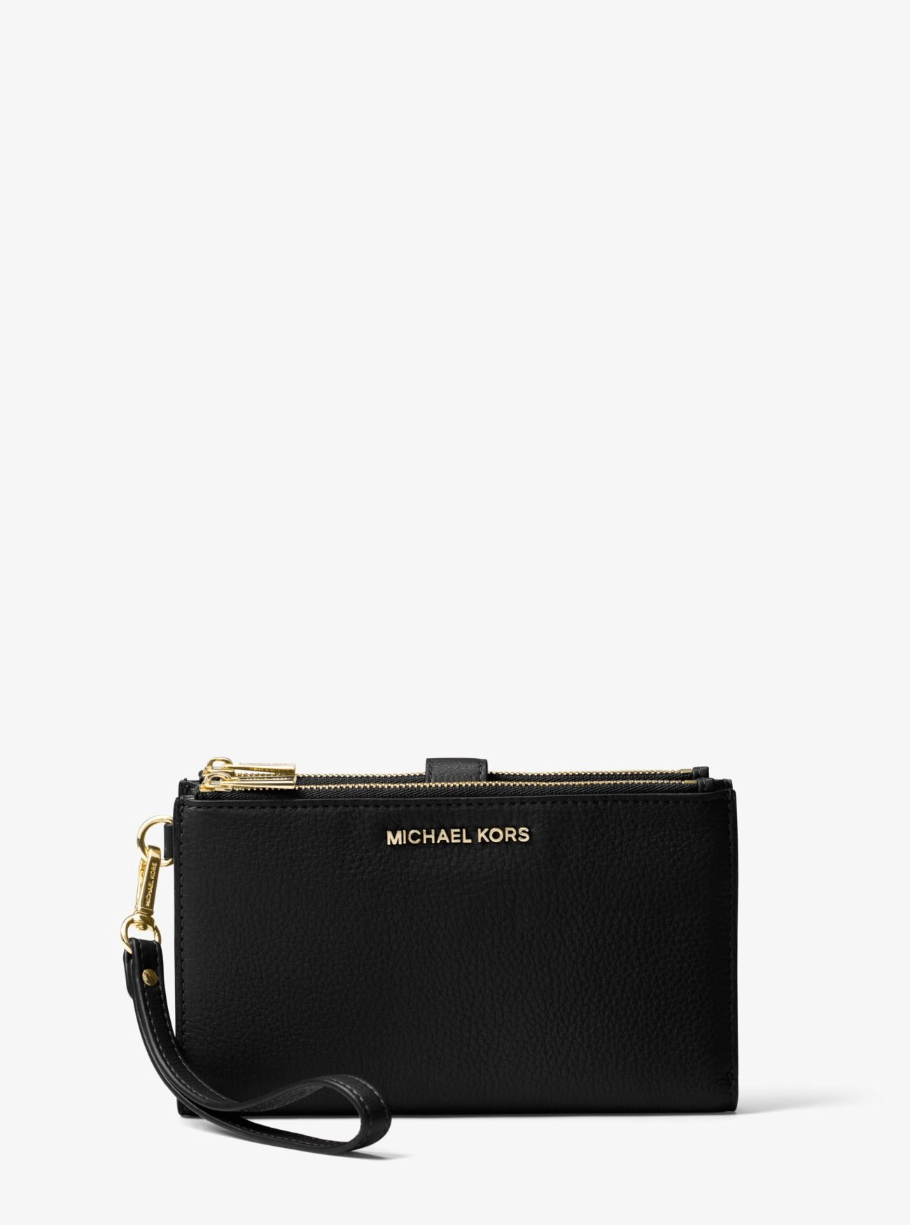 MICHAEL Michael Kors Women's Adele Double Zip Wristlet, Black, One Size by Michael Kors