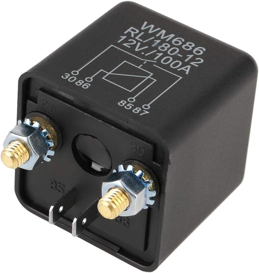 Hilitand Relé de Arranque de Coche de Servicio Pesado DC 12V 100A Relé de Coche Abierto Normal para Control de batería ON/Off