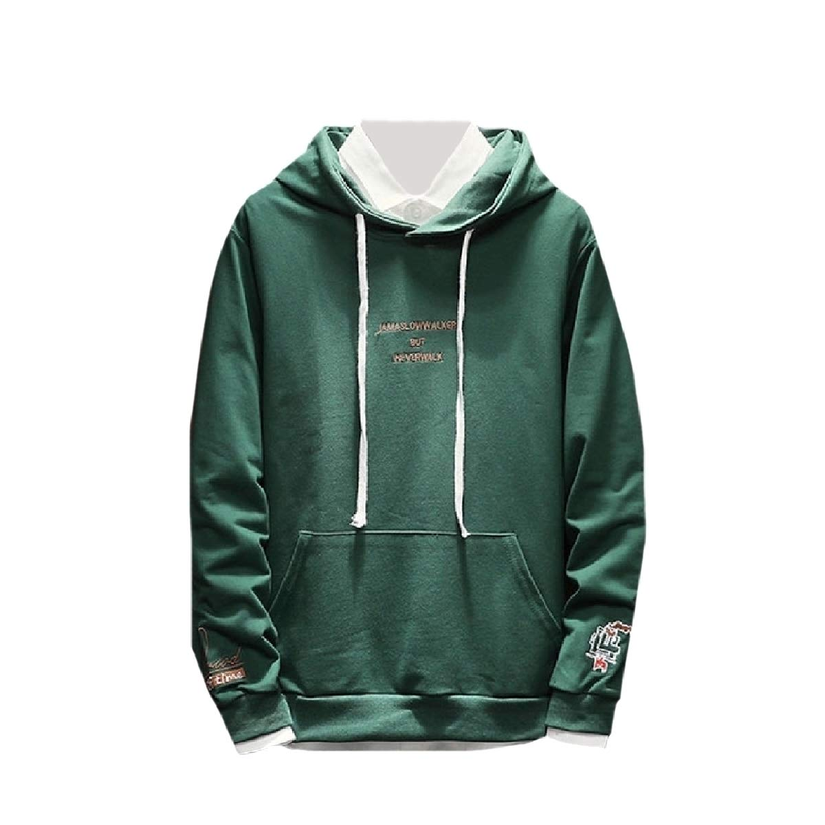 YUNY Mens Long-Sleeve Pullover Pockets Embroidery Hoodies Sweater Green L