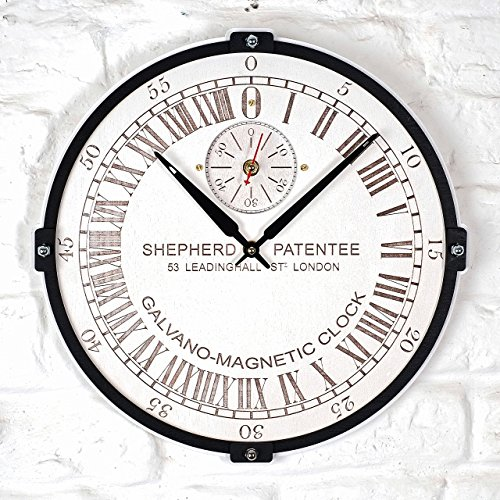 Greenwich Mean Time (GMT) Shepherd Gate 45см large 24-hour analogue dial white and black clock face wooden wall clock (personalized gift)