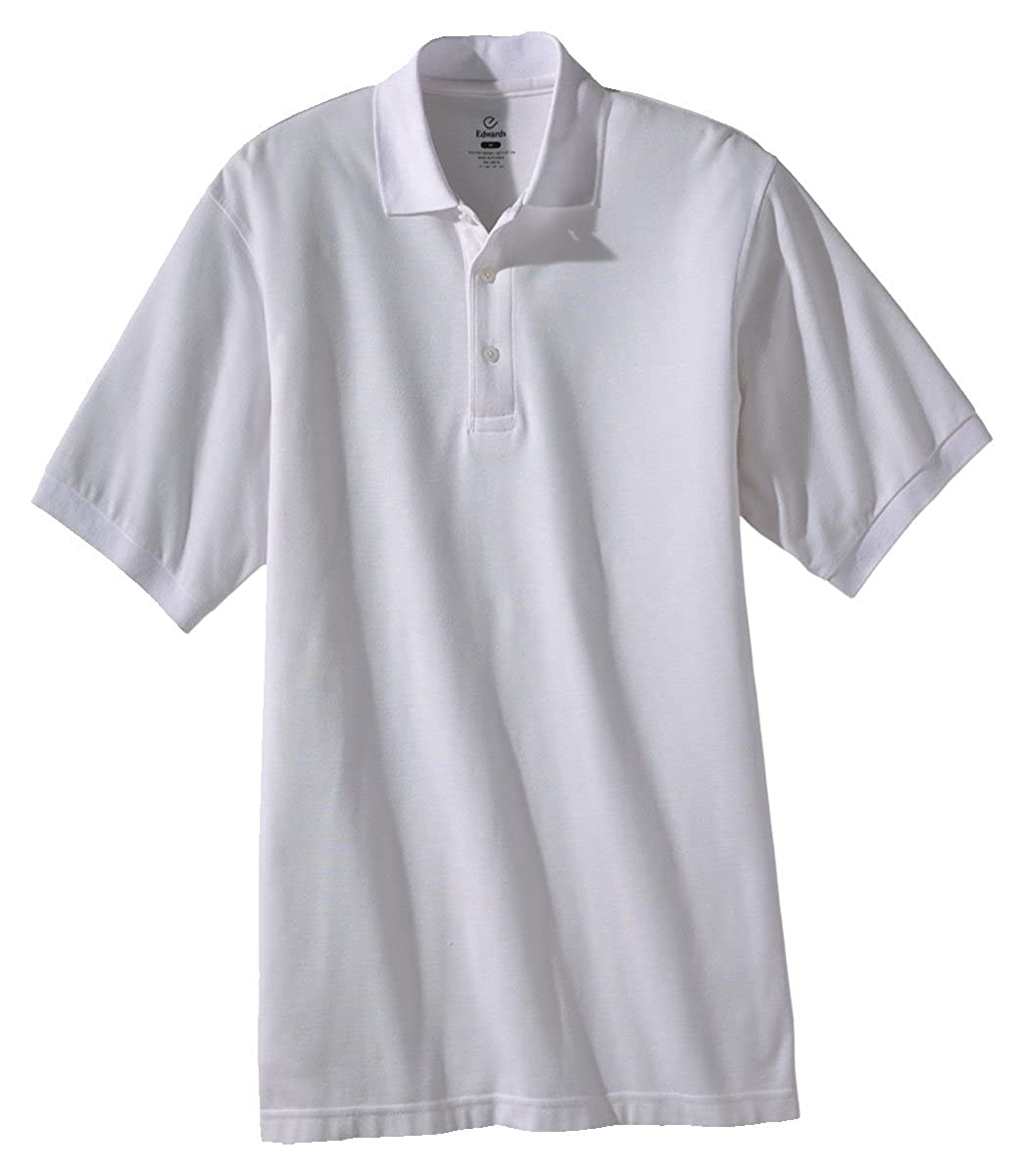 WHITE Ed Garments Mens Soft Touch Blended Pique Polo Shirt Large