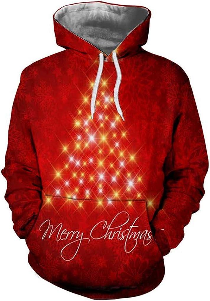Bsrale ÁRbol De Navidad 3D Hombres con Capucha Sudaderas con Capucha De Las Mujeres del Barro Amasado De La Nieve Gato del Sombrero De Los Ciervos De Santa del Perro Ropa con Capucha Noel