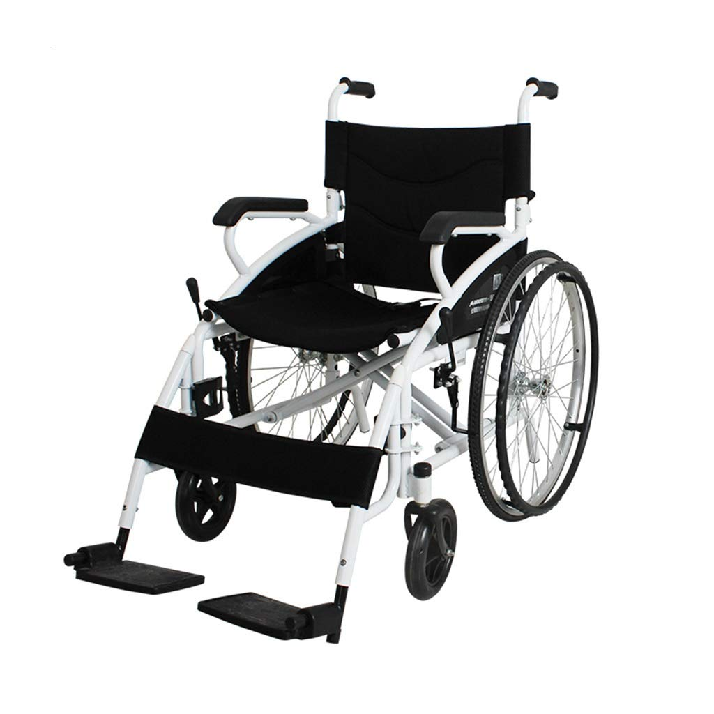 MLX Manual Hand Push Wheelchair, Old Scooter, Disabled Old Man Trolley, Solid Tire Breathable Seat Cushion, Suitable for Disabled Elderly by MLXCY