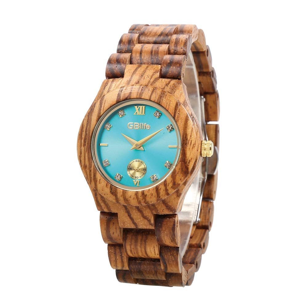 Wooden Watch Women with Turquoise Dial, GBlife Casual Lightweight Natural Handmade Wood Watch with Adjustable Wood Watch Band, Fashion Quartz Wooden Wristwatch (Zebrawood)