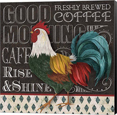 Good Morning by Fiona Stokes-Gilbert Canvas Art Wall Picture, Museum Wrapped with Black Sides, 24 x 24 inches (Framed Pictures Rooster)