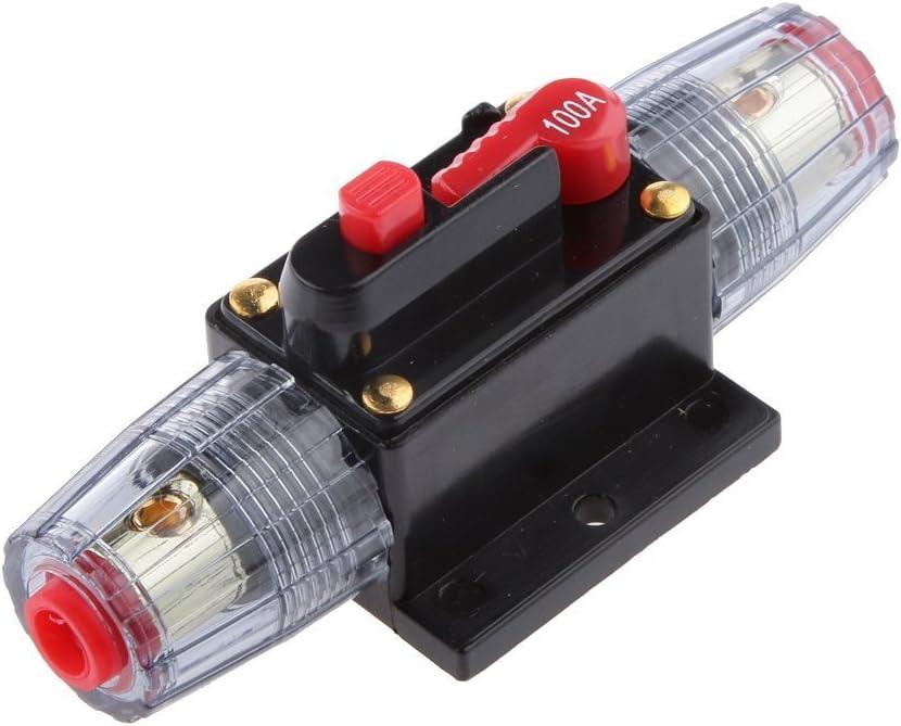 WOVELOT 12V-24V disjoncteur Automatique en Ligne 100A commutateur de reinitialisation Manuelle fusible Audio de Voiture