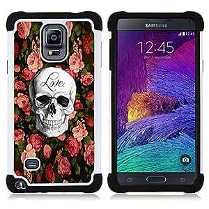- skull love rock metal rose Halloween/ H??brido 3in1 Deluxe Impreso duro Soft Alto Impacto caja de la armadura Defender - SHIMIN CAO - For Samsung Galaxy Note 4 SM-N910 N910