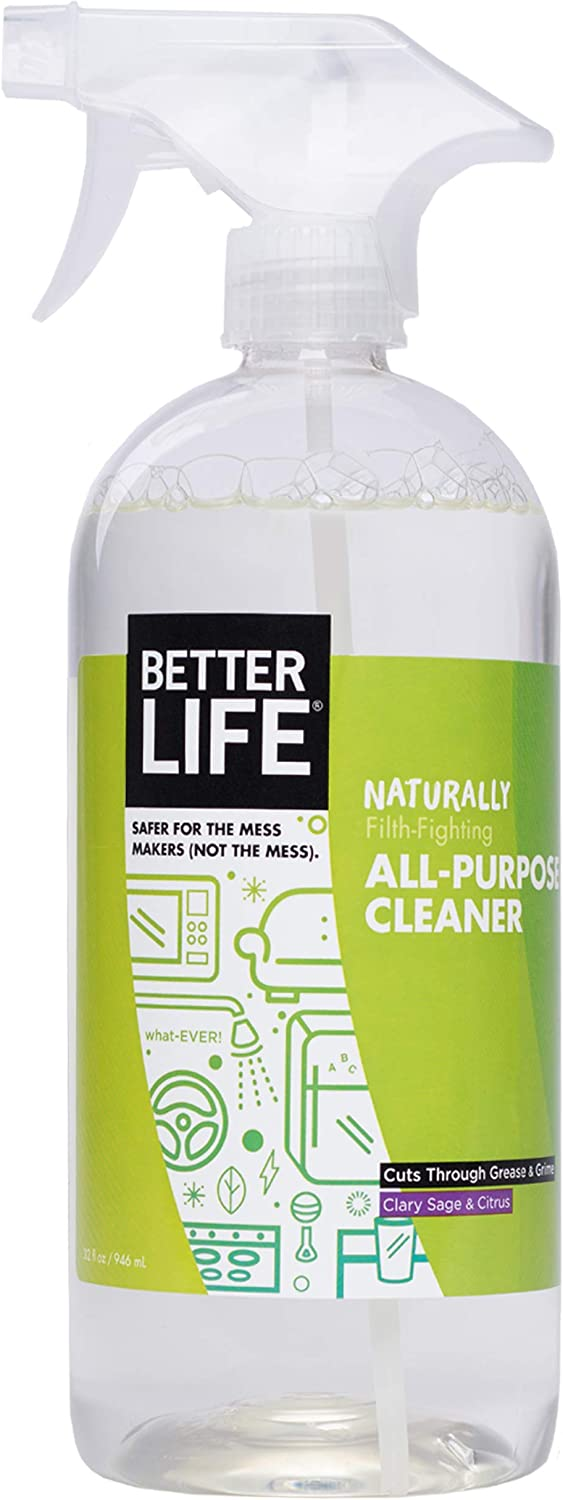 Better Life Natural All-Purpose Cleaner, Safe Around Kids & Pets, Clary Sage & Citrus, 32 Fl Oz (Pack of 1), 2409N