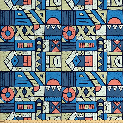 Ambesonne Ethnic Fabric by The Yard, Print with Tribal Folk Traditional Motifs Hand Drawn Style Indigenous Art Elements, Decorative Fabric for Upholstery and Home Accents, Multicolor from Ambesonne