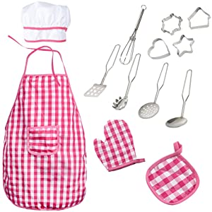 Liberty Imports 13 Piece Chef Dress Up Costume | Includes Apron, Chef Hat, Mitt, Cooking & Baking Tools | Kids Role Play Kit Toy - Ideal Gift for 3, 4, 5, 6 Year Old Girls