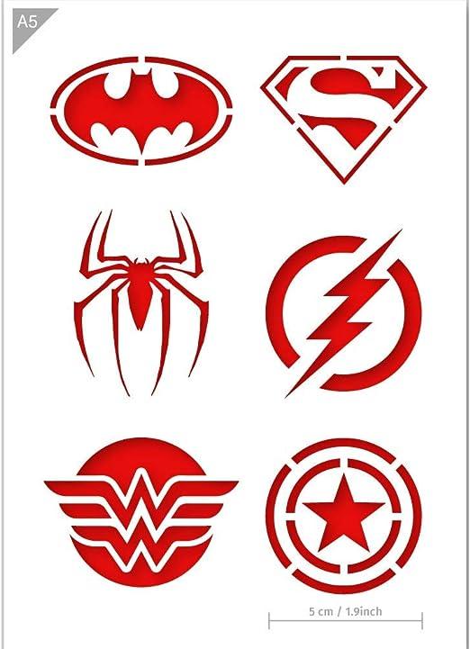 Qbix Pochoir De Super Heros Superman Batman Spiderman Wonder