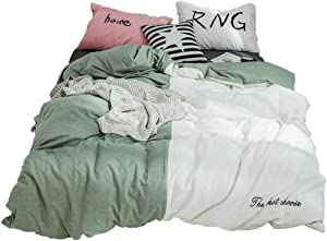 LOFJOL Unique Duvet Cover Patchwork Teen Bedding Quilt Cover,Breathable Simple Solid Design Fade Resistant-Green & White 200x230cm(79x91inch)
