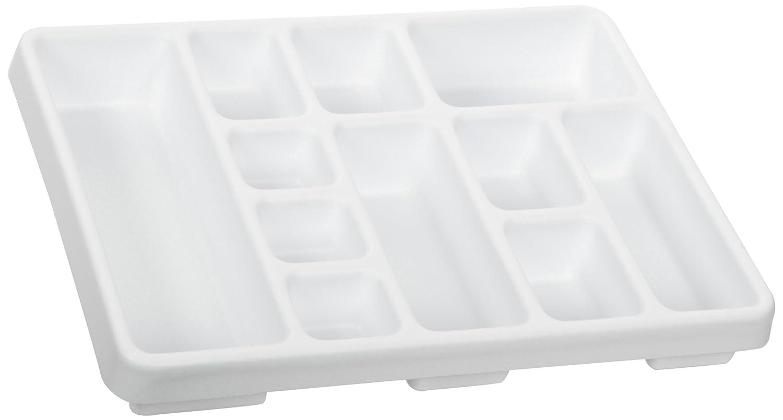 TrippNT 50159 White Polystyrene Plastic Drawer Organizer 2 Pocket 14 Width x 3 Height x 10 Depth