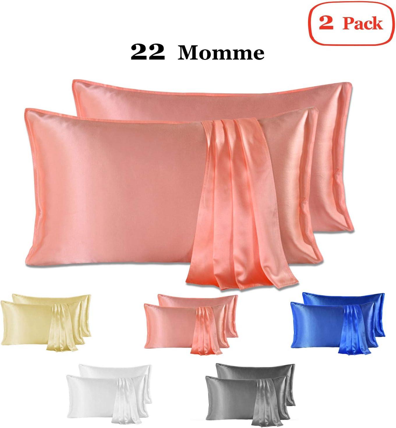 Since Silk Fundas de Almohada de Seda 100/% Mora Natural 22 Momme 50 * 75cm Suaves y Cuidado de la Cabello Funda de Almohada de Seda 2 Piezas Pink