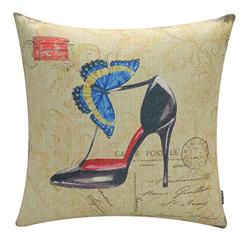 45*45cm Cotton Linen Cushion Pillowcase (High-heeled shoes) - 8