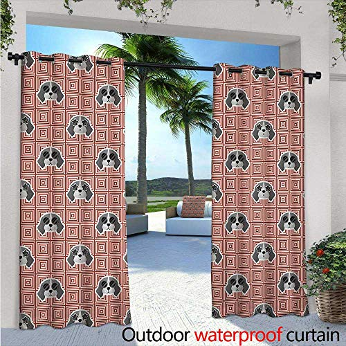 Dog Exterior/Outside Curtains Beagle Puppies with Sunglasses Abstract Geometric Pattern Checkered Squares for Patio Light Block Heat Out Water Proof Drape W120 x L108 Red Grey Pale Grey
