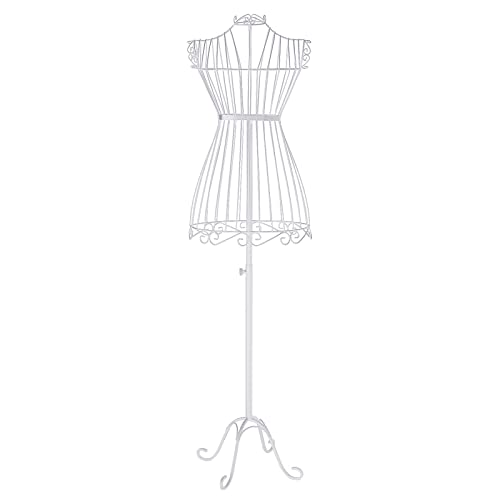 SONGMICS Metal Wire Dress Form Female Mannequin Adjustable Height 120-170 cm Metal Wire White HRA11W