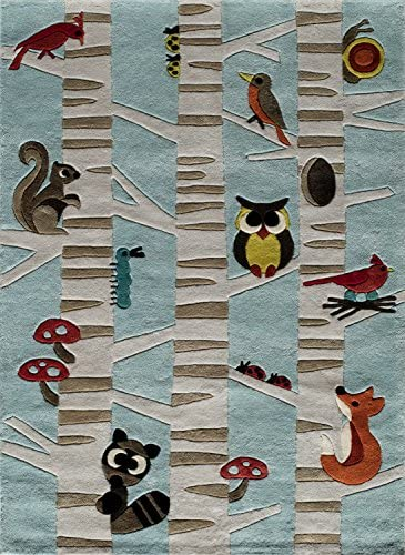 Momeni Rugs Lil Mo Whimsy Collection Area Rug, 8 x 10 , Light Blue