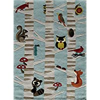 Momeni Rugs LMOJULMJ29LBL3050 Lil Mo Whimsy Collection Kids Themed Hand Carved and Tufted Area Rug, 3 x 5, Light Blue