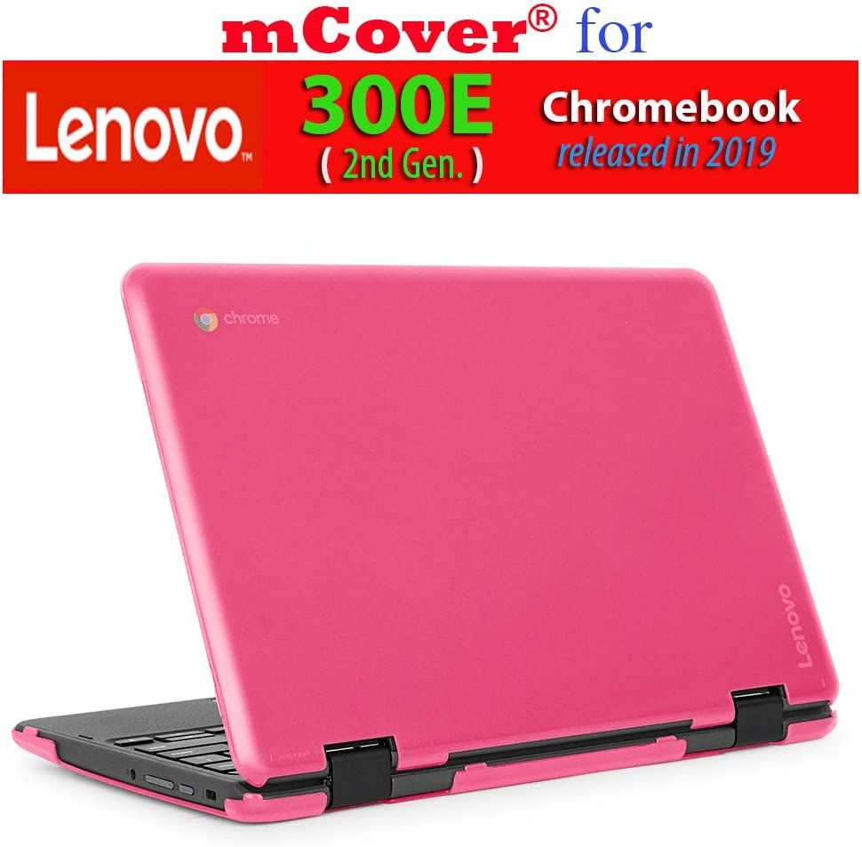 "mCover Hard Shell Case for 2019 11.6"" Lenovo 300E (2nd Gen.) 2-in-1 Chromebook Laptop (NOT Fitting Lenovo 300E Windows & N21 / N22 / N23 /100E / 500E Chromebook) (Pink)"