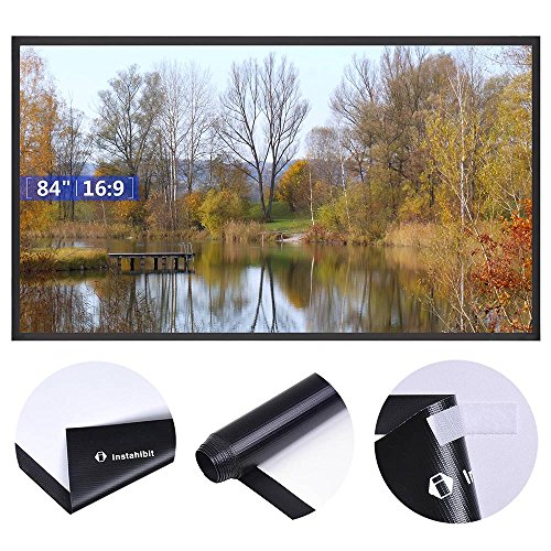 """Instahibit 84"""" 16:9 Portable Front Projection Screen Matte White HD Movies Home Theatre Outdoor Yard Conference"""