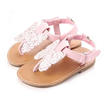 ed48dbde3fdb AMA(TM) Toddler Baby Girls Butterfly-Knot Leather Sandals Summer Princess  Beach Shoes (6-9 Month