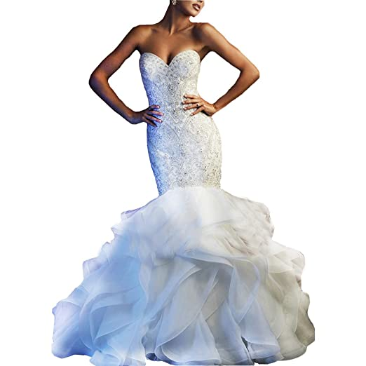4a939ed517b Fashionbride Women s Sweetheart Beadings Wedding Gowns with Train Mermaid  Wedding Dresses for Bride ED66 at Amazon Women s Clothing store