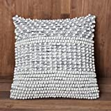 ThymeHome Nirvana Pebble Cotton Hand Woven Pillow:-100% Cotton Decorative Accent Pillows 18''x18''Natural