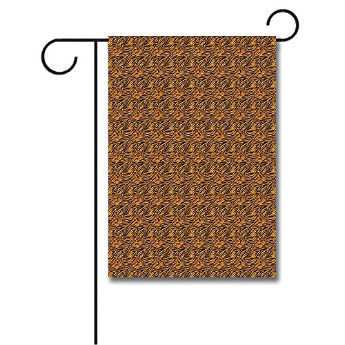 Wondertify Garden Flags Tribal Tiger Skin Stripes Warm Toned Background Motifs from African Culture Double Sided House Decoration Polyester Garden Flag 12 X 18 Inches