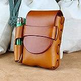 Bueer Belt Attachment Leather Cigarette Case Lighter Holder (Brown)