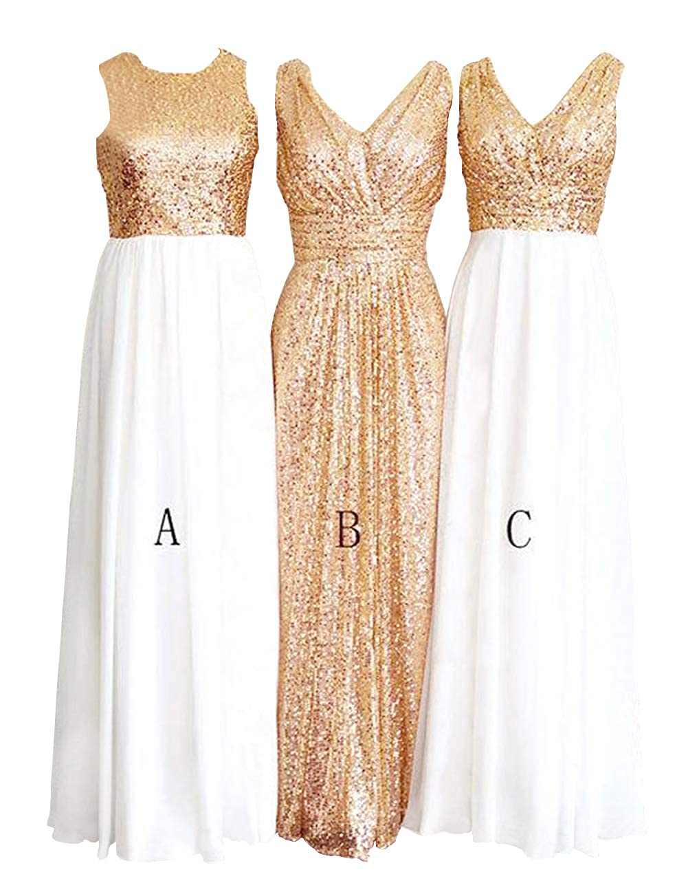 Awhite and Champagne H.S.D Women's pink gold Sequins Paillettes Long Bridesmaid Party Prom Dress