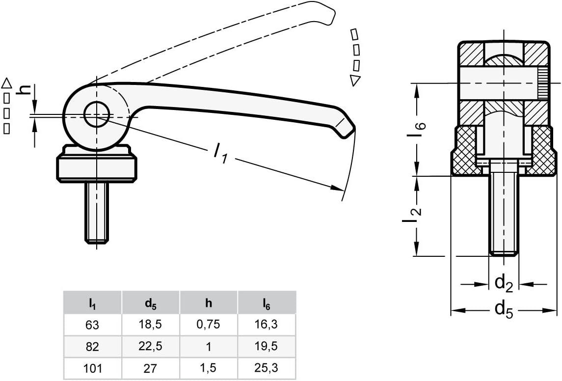Hebel Zink-Druckguss Griffl/änge l1: 101mm schwarz Exzenterspanner mit Schraube 1 St/ück 927-101-M8-20-A-B Ganter Normelemente Gewinde d2: M8