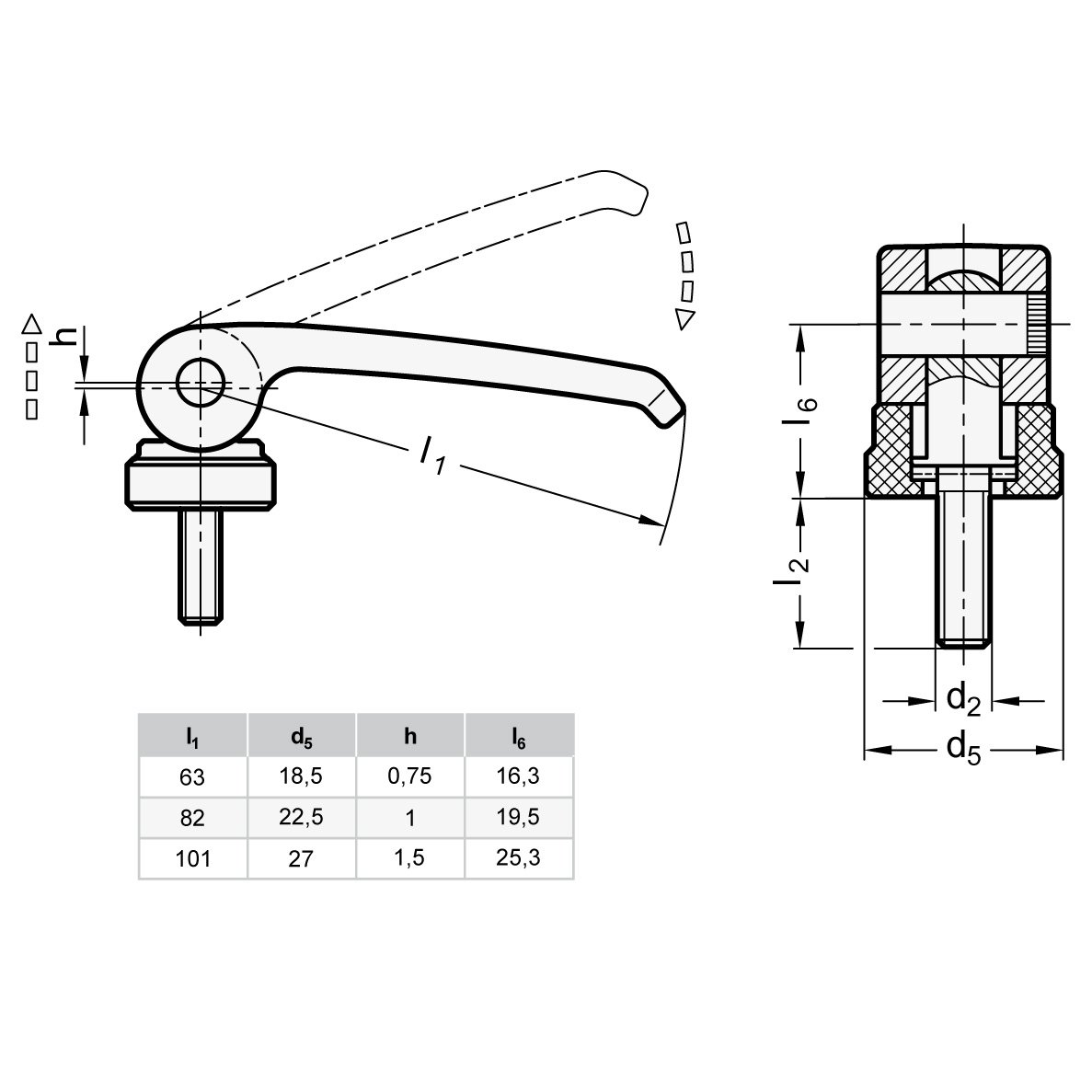 schwarz Ganter Normelemente Griffl/änge l1: 101mm 1 St/ück Gewinde d2: M10 927-101-M10-60-A-B Hebel Zink-Druckguss Exzenterspanner mit Schraube