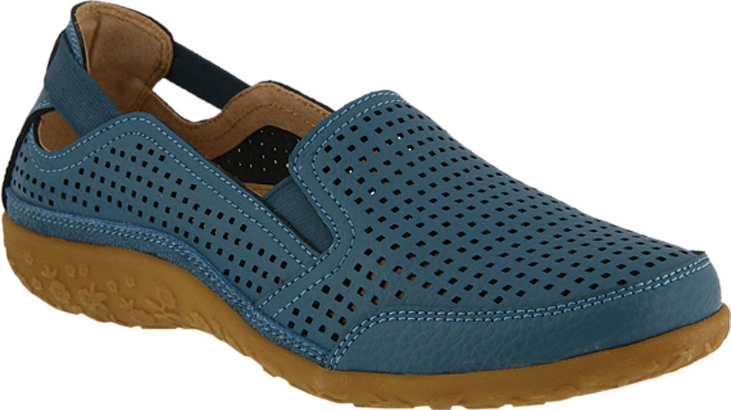 Spring Step Women's Juhi Perforated Slip On B06XQXK92S 38 D EU / 7.5-8 D US Women|Blue Full Grain Leather