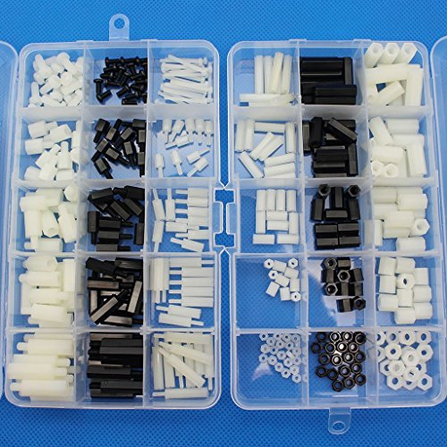 Raogoodcx 360pcs M2 M3 M4 Male Female Nylon Hex Spacer Standoff Screw Nut Assortment Kit