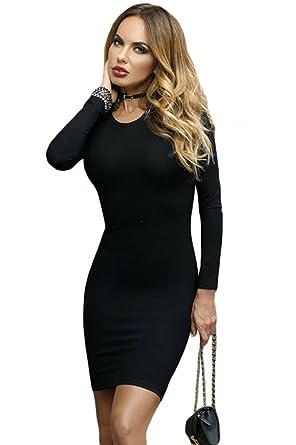 d58b47f720fb Wowforu Ladies Black Lace Up Back Long Sleeve Sexy Slim Bandage Bodycon  Mini Party Club Dress
