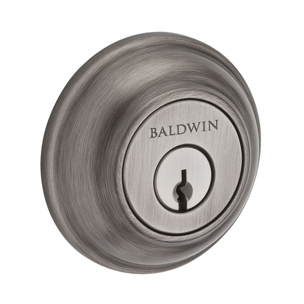 Baldwin SCTRD152 Reserve Single Cylinder Traditional Round Deadbolt in Matte Antique Nickel Finish by Baldwin
