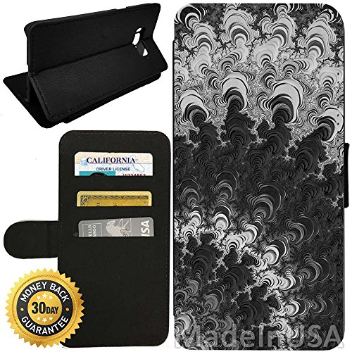 Swirl Pedestal (Flip Wallet Case for Galaxy S8 (Fractal Black White Swirl) with Adjustable Stand and 3 Card Holders | Shock Protection | Lightweight | by Innosub)
