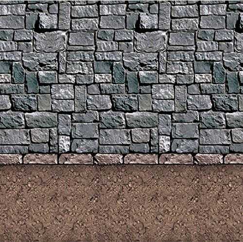 Pack of 6 Insta-Theme Dirt Floor and Stone Wall Halloween Backdrop Party Decorations 4' x 30'