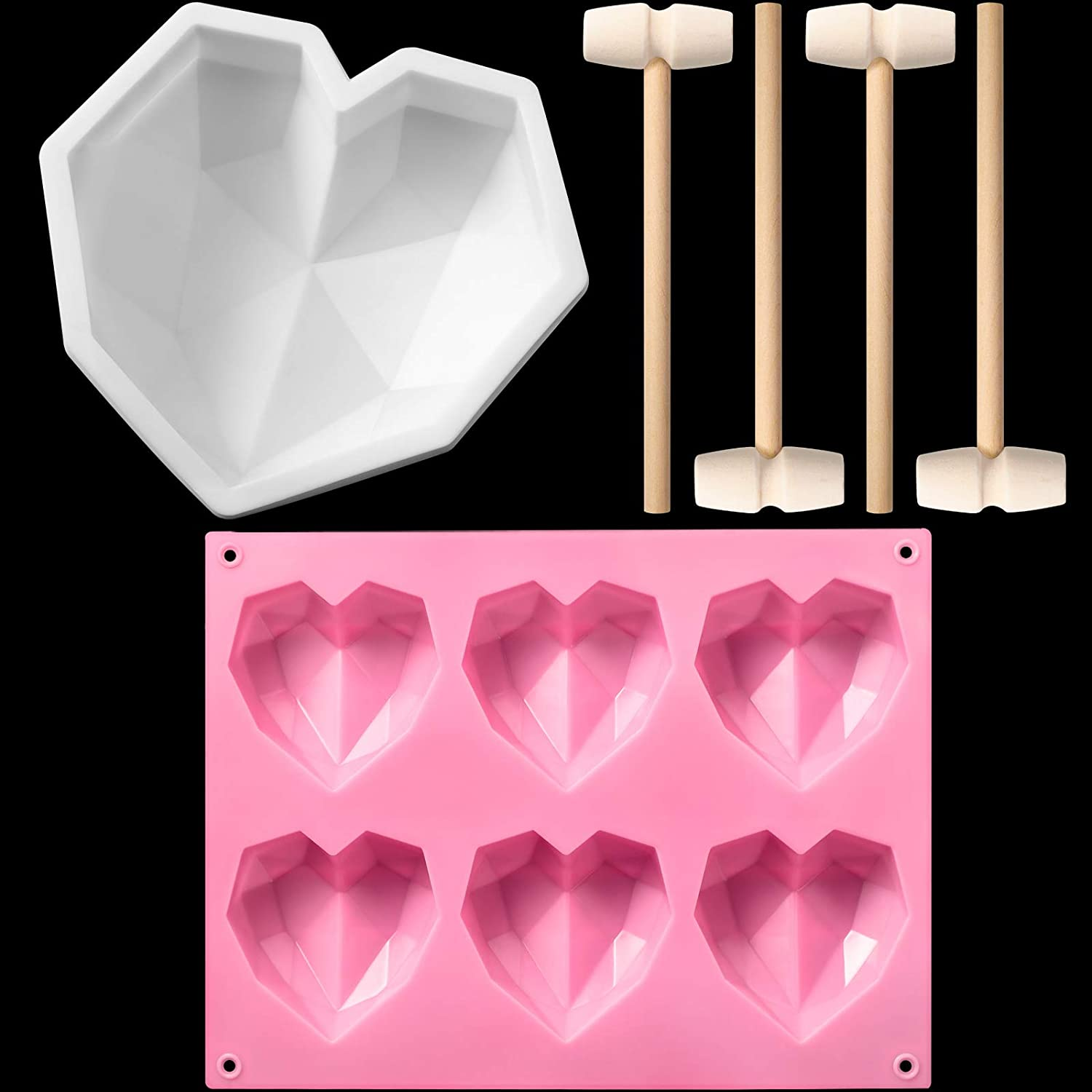 2 Pieces Silicone Heart Mold Diamond Heart Mousse Cake Mold 6 Holes Heart Shaped Silicone Mold with 4 Mini Wooden Hammers Mallet Pounding Tool for Chocolate Ice Cream Candy Candle (Pink, White)